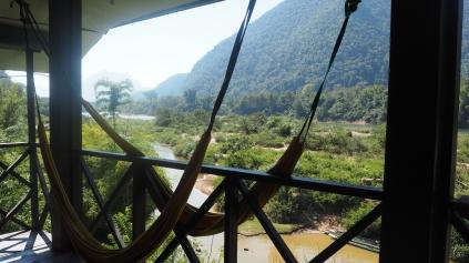 Vue de notre chambre en bamboo - Muang Ngoy